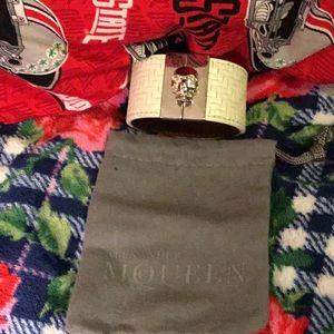 EUC Alexander McQueen White Leather Skull Bracelet
